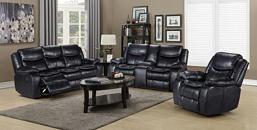 Emerson Reclining Living Room Set in Black