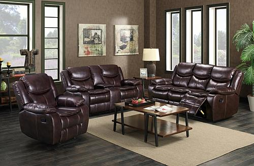 Emerson Reclining Living Room Set in Brown