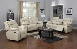 Hudson Reclining Living Room Set in Beige
