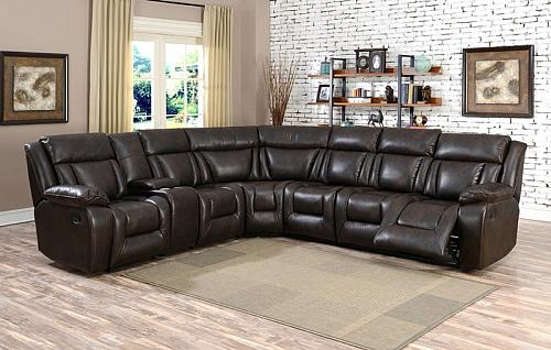 Hudson Reclining Sectional in Brown