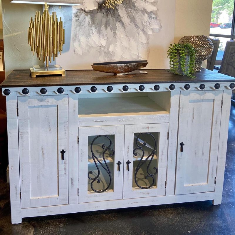 Gaucho Rustic White TV Console *Clearance*