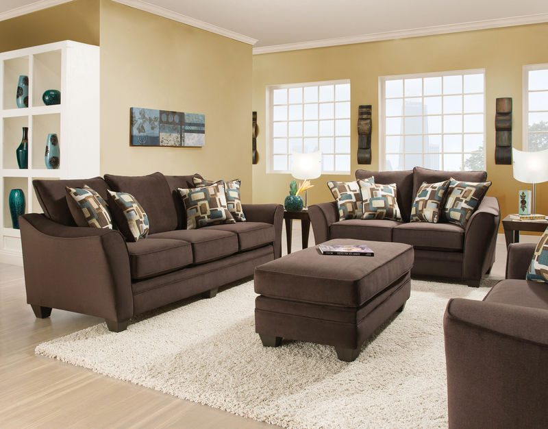 Flannel Espresso Living Room Set