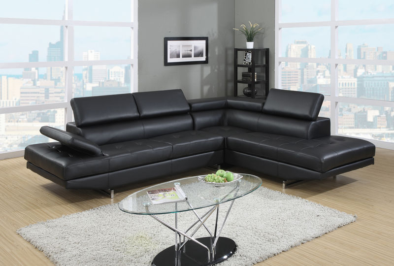 Milan Sectional Sofa Set in Black