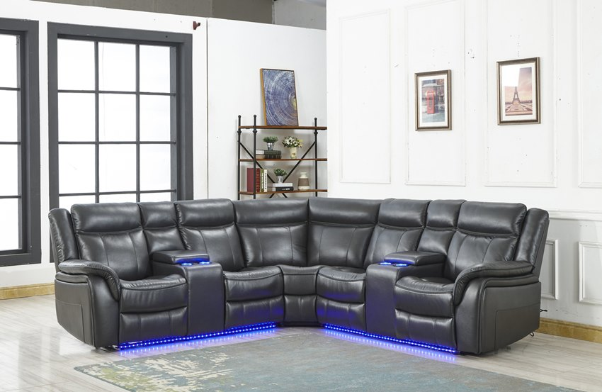 Zenith Reclining Sectional with LED Lights