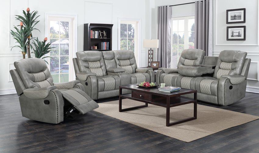 Starwood Grey Reclining Sofa Set