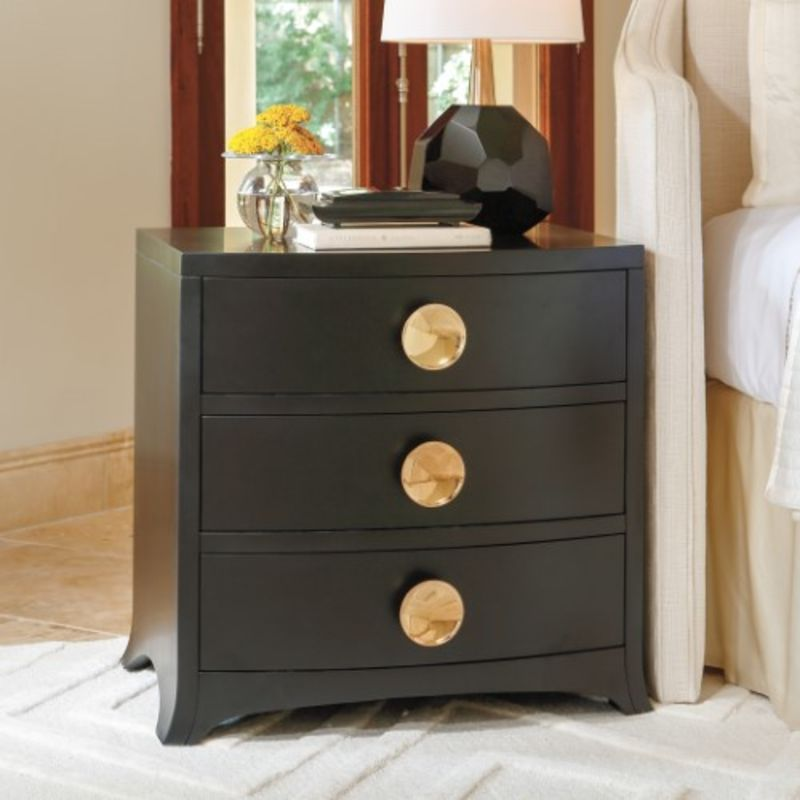 Bow Front 3 Drawer Chest in Ebony