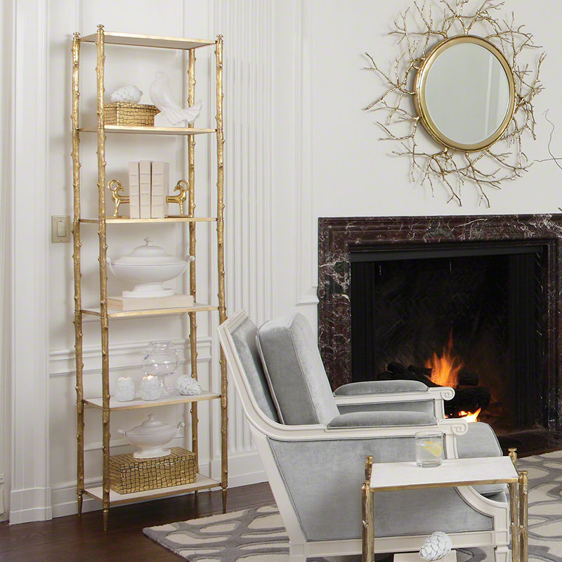 Arbor Etagere in Brass and White