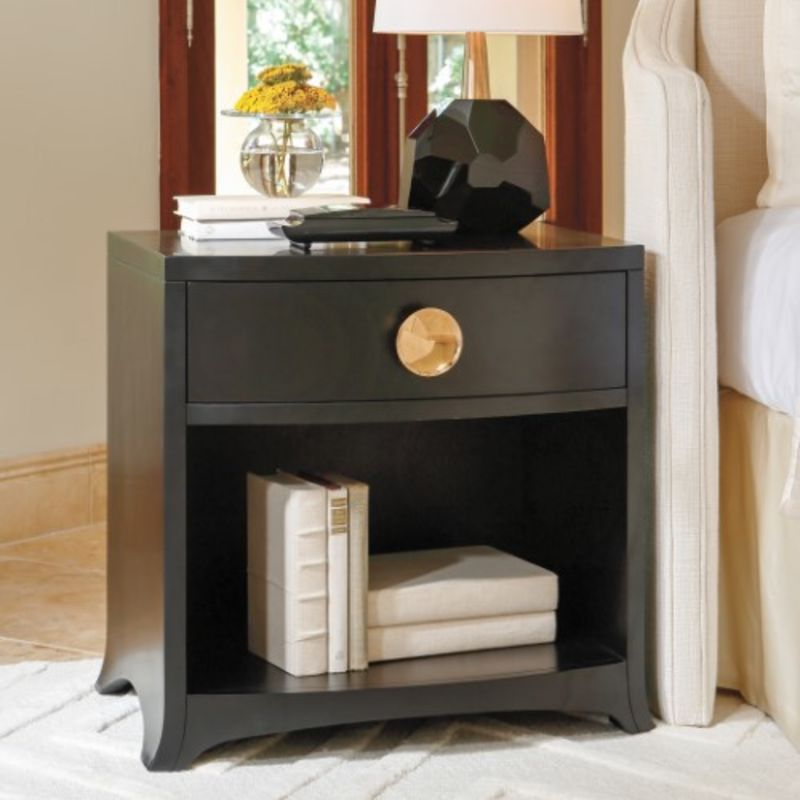 Bow Front 1 Drawer Chest in Ebony