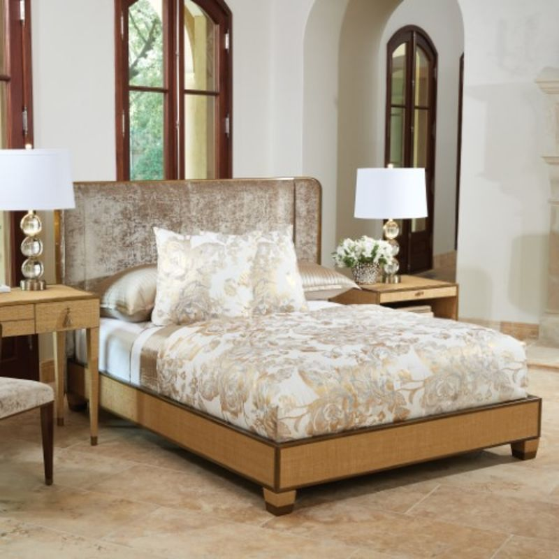 D'Oro Bed with Velvet Upholstered Headboard