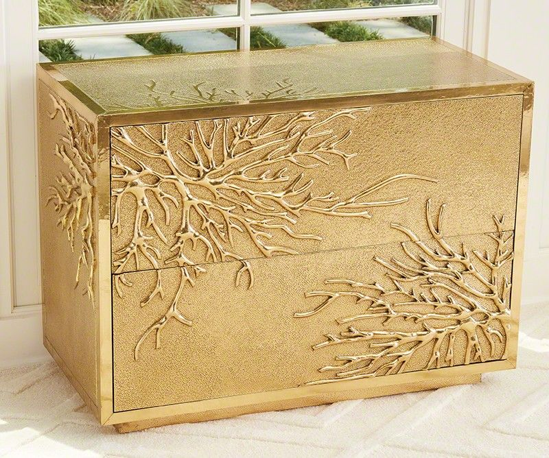 Flower Burst 2 Drawer Cabinet in Brass