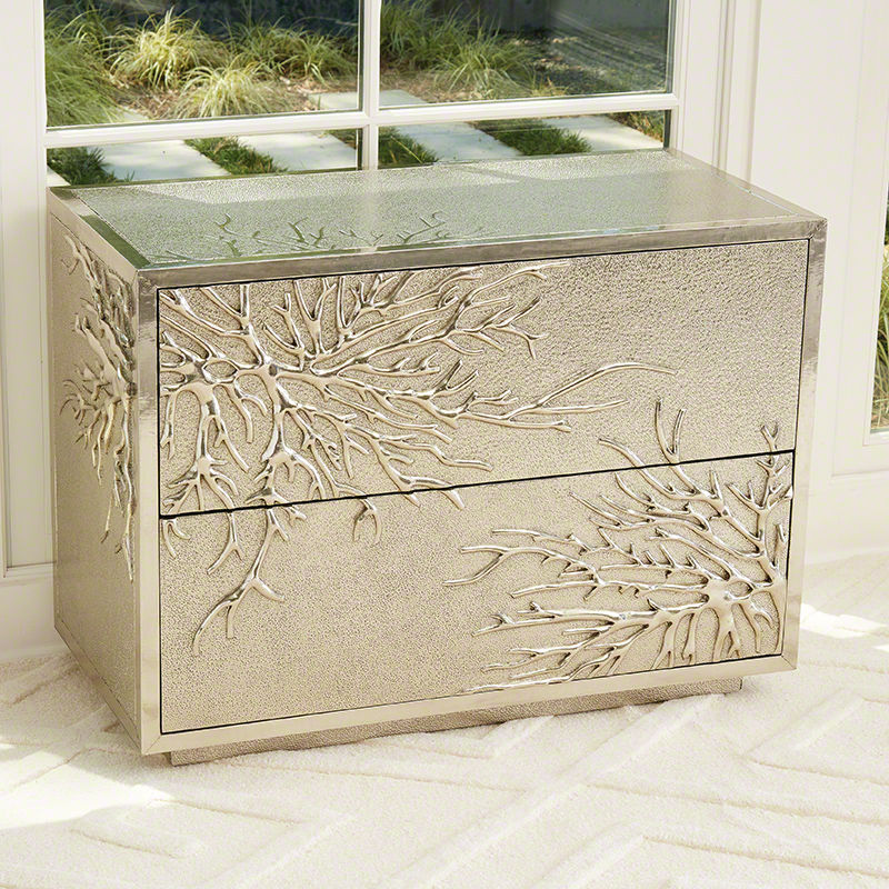 Flower Burst 2 Drawer Cabinet in Silver