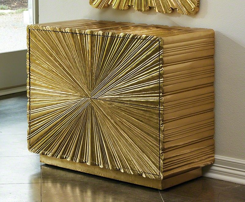 Linen Fold 2 Drawer Chest in Brass