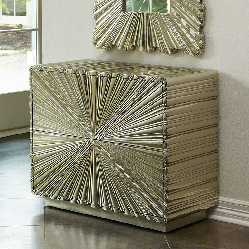 Linen Fold 2 Drawer Chest in Silver