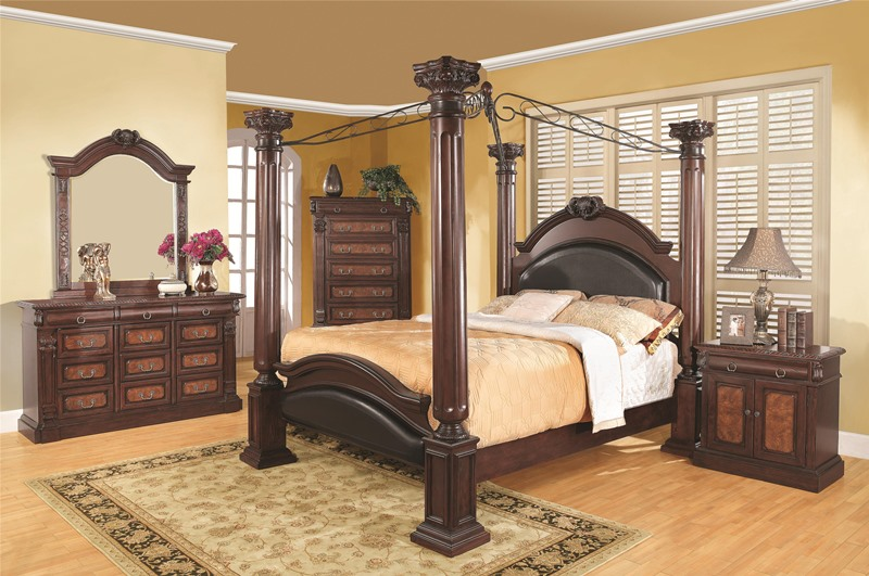 Grand Prado Bedroom Set With Roman Column Bed