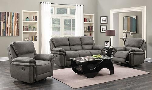 Nash Reclining Living Room Set in Gray