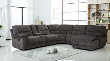 Nevada Reclining Sectional in Gray Fabric