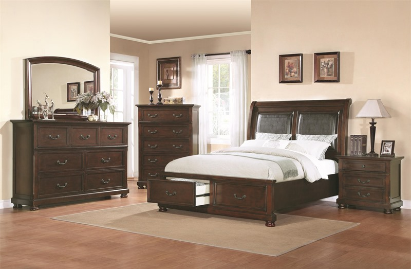 Hannah Bedroom Set with Storage Bed and Upholstered Headboard