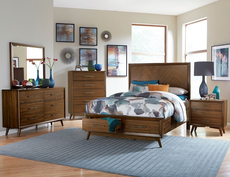 Raku Bedroom Set with Storage Bed in Walnut