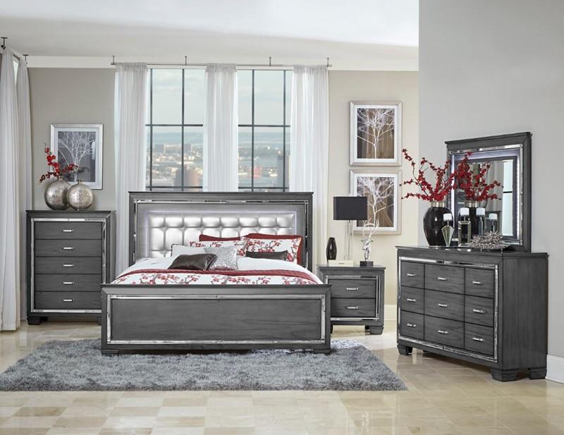 Allura Bedroom Set in Gray