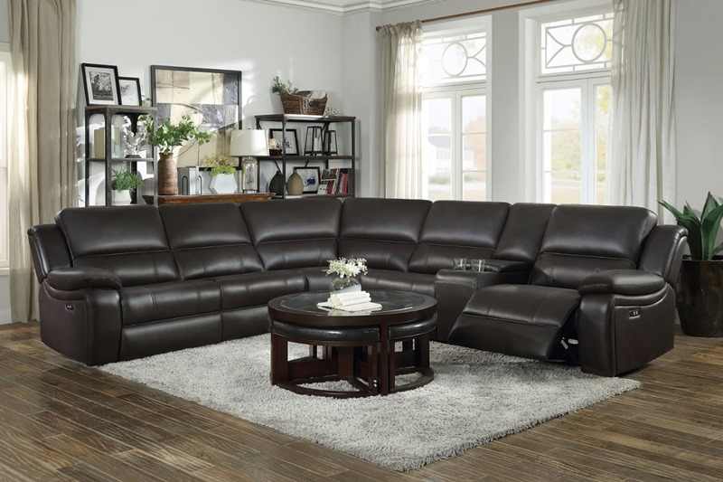 Falun Reclining Sectional in Brown