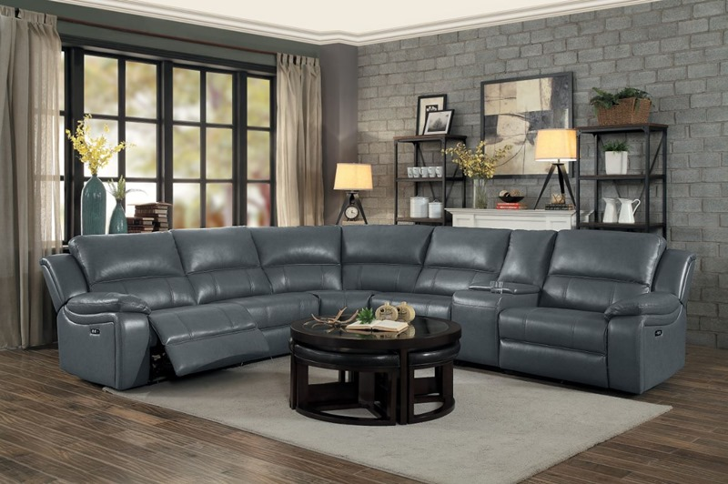 Homelegance | 8260GY-6PW Falun Reclining Sectional in Grey | Dallas  Designer Furniture