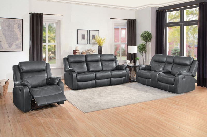 Yerba Reclining Living Room Set in Gray