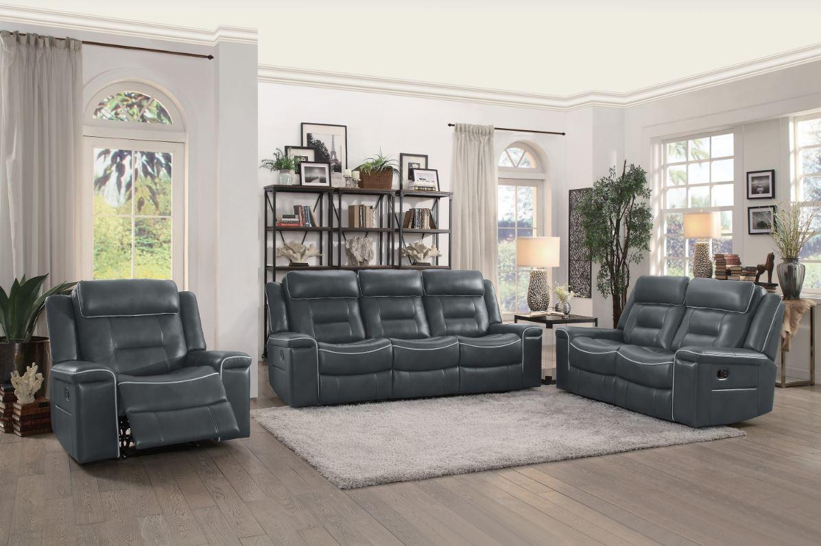 Darwan Reclining Living Room Set in Dark Gray