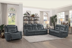 Darwan Reclining Living Room Set in Dark Gray