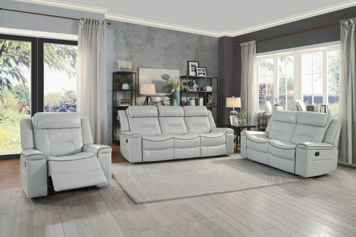 Darwan Reclining Living Room Set in Light Gray