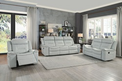 Darwan Reclining Living Room Set in Light Gray