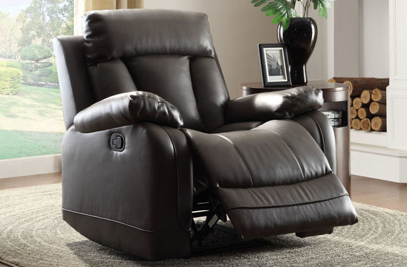 Ackerman Reclining Leather Living Room Set in Black