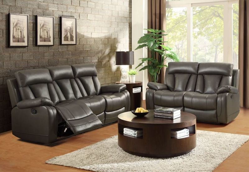 Ackerman Reclining Leather Living Room Set in Grey