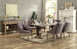 Anna Claire Formal Dining Room Set with Curved Arm Chairs