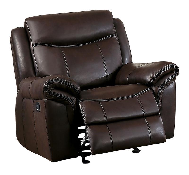 Aram Reclining Living Room Set in Dark Brown Leatherette