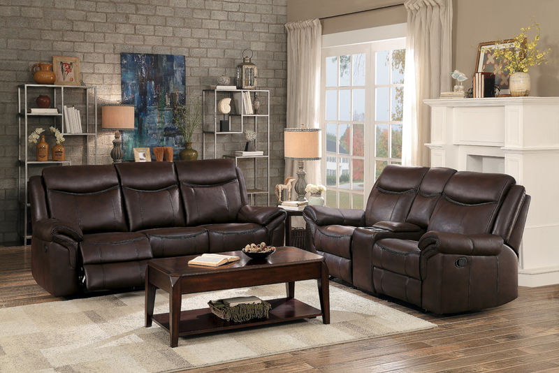 Aram Reclining Living Room Set in Dark Brown Leatherette