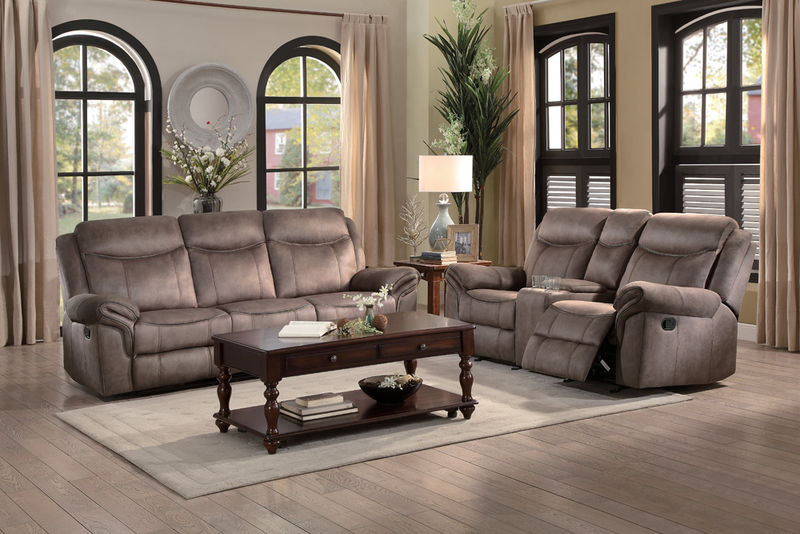 Aram Reclining Living Room Set in Light Brown