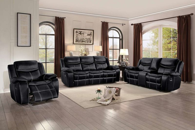 Bastrop Reclining Living Room Set in Black