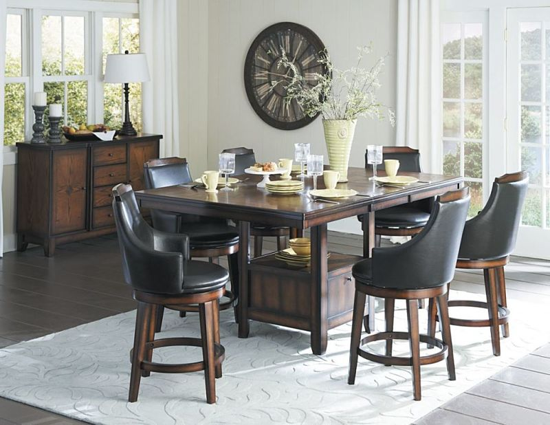 Marvelous Bayshore Counter Height Dining Room Set With Storage Base ...