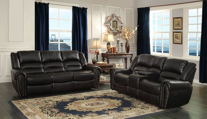 Center Hill Reclining Leather Living Room Set with Power Motion in Black