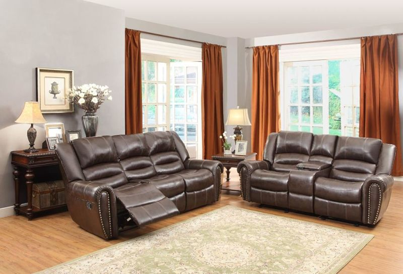 Center Hill Reclining Leather Living Room Set with Power Motion in Brown