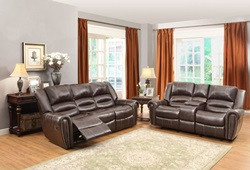 Center Hill Reclining Leather Living Room Set in Brown