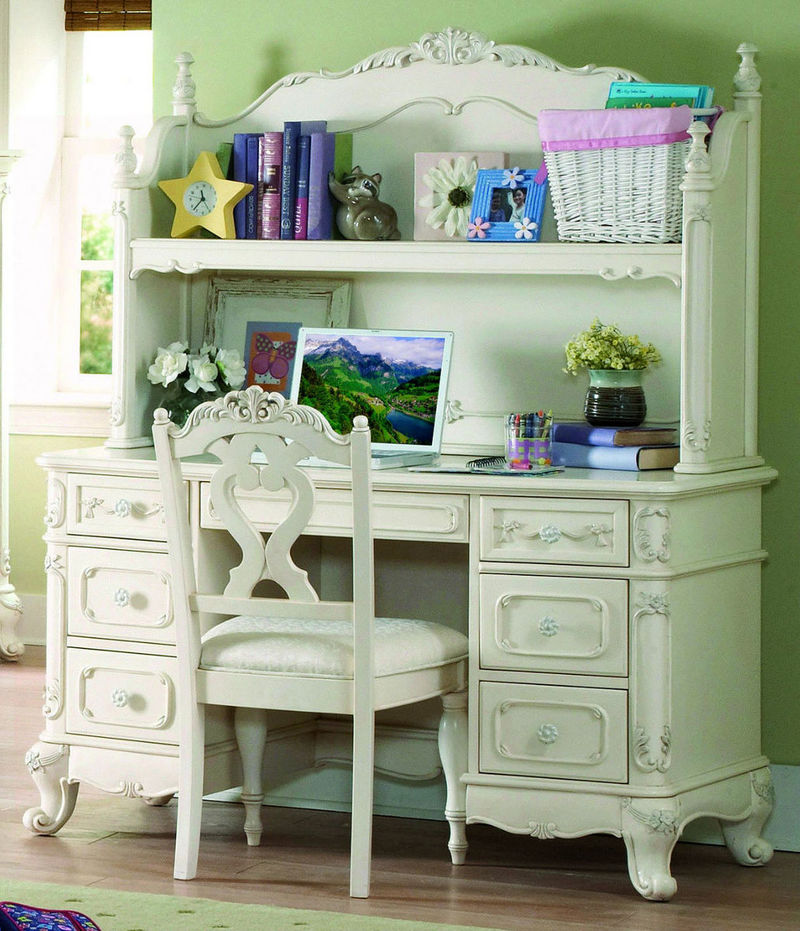 Dallas Designer Furniture Cinderella Youth Bedroom Set In White Wash