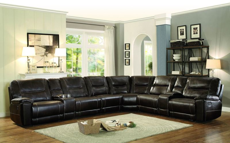 Columbus Large Reclining Sectional in Brown