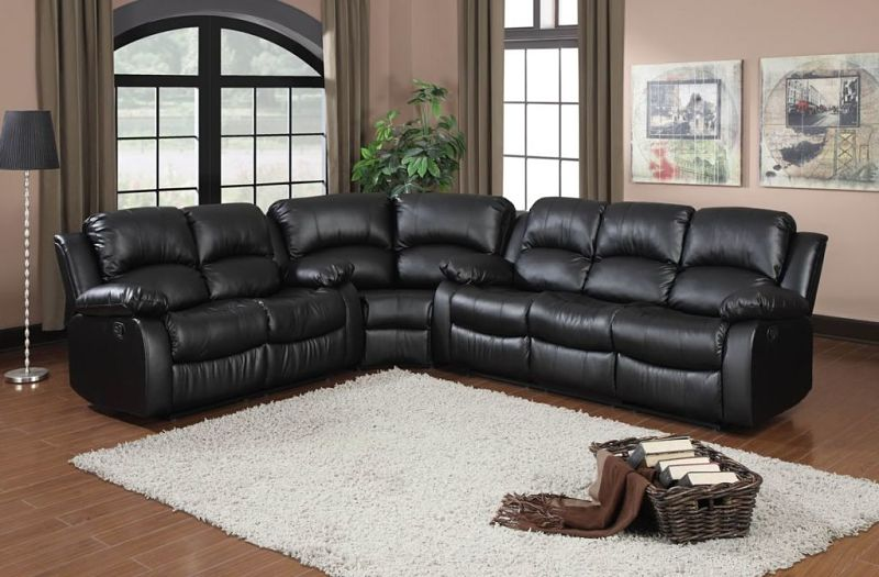 Cranley Reclining Leather Sectional in Black with Power Motion
