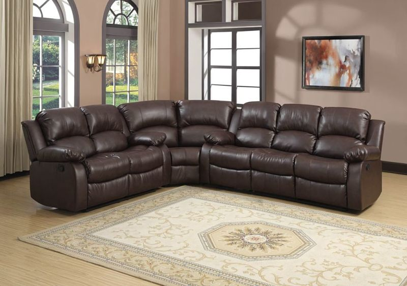 Cranley Reclining Leather Sectional in Brown