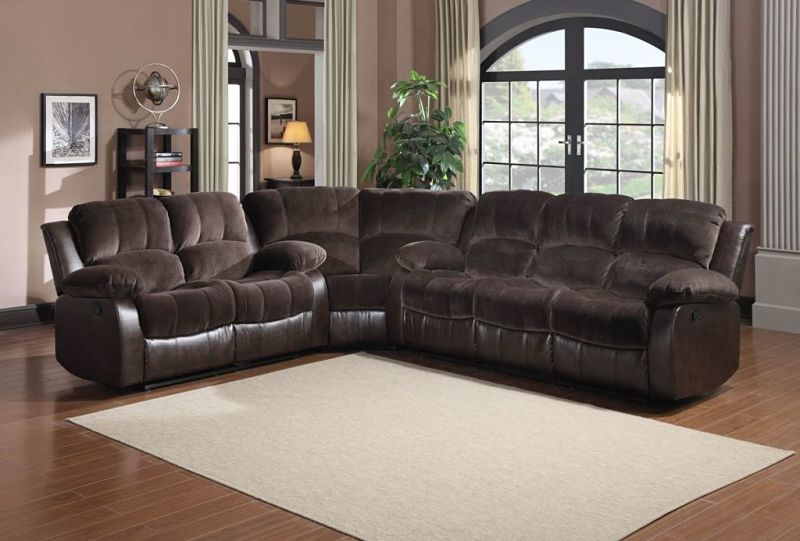 Cranley Reclining Sectional in Brown Microfiber