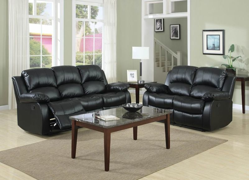 Cranley Reclining Leather Living Room Set in Black with Power Motion