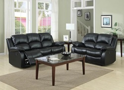 Cranley Reclining Leather Living Room Set in Black
