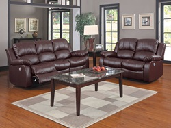 Cranley Reclining Leather Living Room Set in Brown