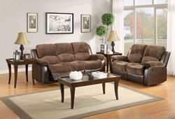 Cranley Reclining Living Room Set in Brown Microfiber with Power Motion
